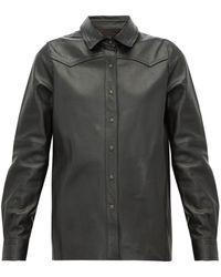 Nili Lotan Juline Snake-effect Leather Shirt - Black