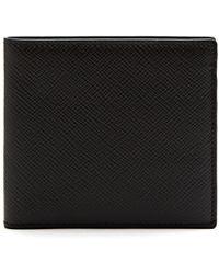 Smythson Panama Bi Fold Leather Wallet - Black