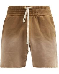 Les Tien Yacht Ombre Brushed-back Cotton Shorts - Brown