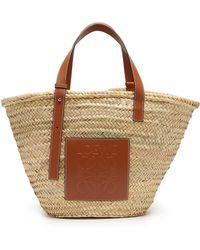 Loewe - Leather Trimmed Woven Basket Bag - Lyst