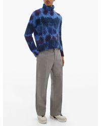 3 MONCLER GRENOBLE Roll-neck Tie-dye Mohair-blend Cable Knit Jumper - Blue