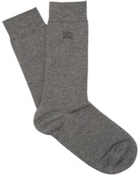 Burberry - Logo Embroidered Cotton Blend Socks - Lyst