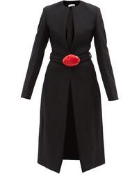 Maximilian Maji Belted Melton Wool-blend Coat - Black