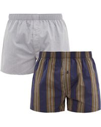 Hanro Pack Of Two Cotton Poplin Boxer Shorts - Blue