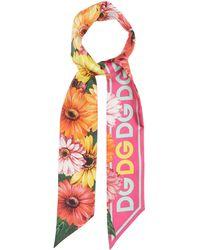 Dolce & Gabbana デイジー シルクファイユスカーフ - ピンク