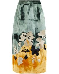 Biyan Jupe midi en velours à fleurs brodées Nova - Multicolore