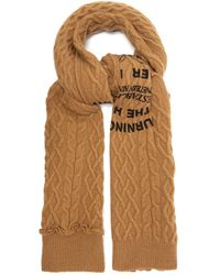 Raf Simons Asymmetric Text-print Cable-knit Wool Scarf - Natural