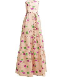 Peter Pilotto Tiered Floral Fil-coupé Cloqué Gown - Pink