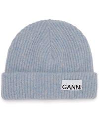 Ganni Logo-patch Ribbed Wool-blend Beanie - Blue