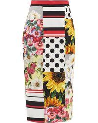 Dolce & Gabbana パッチワーク ファイユ ペンシルスカート - マルチカラー