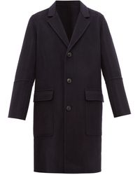 AMI - Single Breasted Wool Blend Overcoat - Lyst