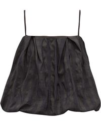 Marques'Almeida Puffball Check-jacquard Taffeta Cami Top - Black