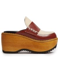 Marni Leather And Wood Slip On Flatform Loafers - Multicolour