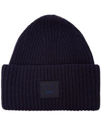 Acne Studios Pansy Ribbed Knit Beanie Hat - Blue