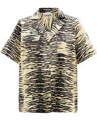 Ganni ゼブラ テクスチャーツイルシャツ - イエロー