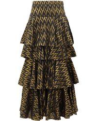 RHODE Audrey Tiered Cotton-blend Brocade Skirt - Multicolor