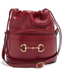 Gucci ホースビット 1955 レザーバケットバッグ - レッド