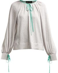 Anna October Contrast Piped Silk And Lamé Blouse - Metallic