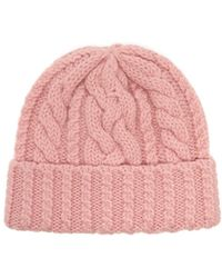AMI Cable-knit Wool Beanie Hat - Pink