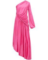 Halpern アシンメトリーギャザードレス - ピンク