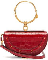 Chloé Nile Leather Minaudière Clutch Bag - Red