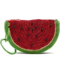 Sensi Studio - - Watermelon Toquilla Straw Clutch - Womens - Red Multi - Lyst