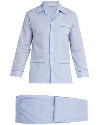 Derek Rose James Striped Cotton Pyjamas - Blue
