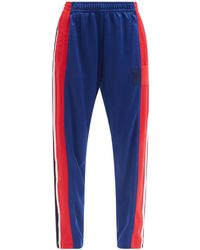 Colville Striped Upcycled-jersey Cropped Track Trousers - Blue