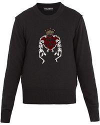 Dolce & Gabbana - Skeleton-embellished Wool Sweater - Lyst