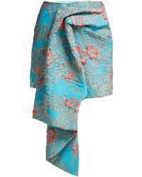 Halpern Draped Metallic Cloqué Mini Skirt - Blue