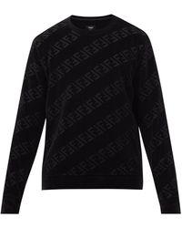 Fendi コットンブレンドベルベットスウェットシャツ - ブラック