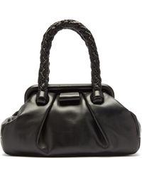 Miu Miu - Braided-handle Hinged-frame Leather Bag - Lyst