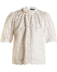 Isabel Marant - Mumba Lace-embroidery Ramie Top - Lyst