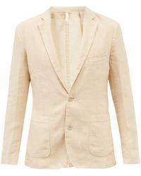 120% Lino Single-breasted Linen Jacket - Natural