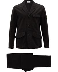 Stone Island Single-breasted Seersucker Cotton Suit - Black