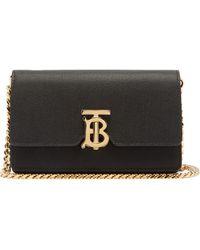 Burberry Carrie Tb-monogram Leather Cross-body Bag - Black