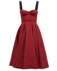 Brock Collection テッサ スウィートハートネック ツイルドレス - レッド