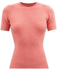JoosTricot Ribbed-knit Organic Cotton-blend T-shirt - Pink