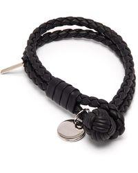 Bottega Veneta Bracelet en cuir à deux tours - Noir