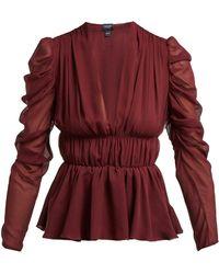 Giambattista Valli Gathered Silk Chiffon Blouse - Multicolour