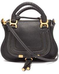 Chloé Marcie Mini Grained Leather Cross-body Bag - Black