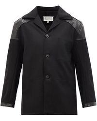 Maison Margiela レザートリム ウールブレンド シングルジャケット - ブラック