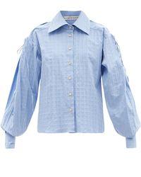 Palmer//Harding Palmer//harding オーネストリー チェック コットンポプリンシャツ - ブルー