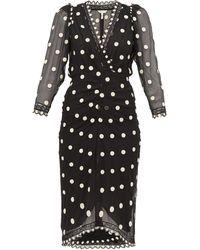 Rebecca Taylor Polka Dot Silk Chiffon Midi Dress - Black