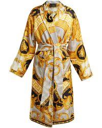 Versace La Coupe Des Dieux Baroque Print Silk Robe - Yellow