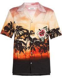 Valentino - Embellished Sunset-print Cotton Shirt - Lyst