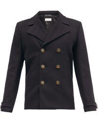 Saint Laurent Double-breasted Wool Pea Coat - Black