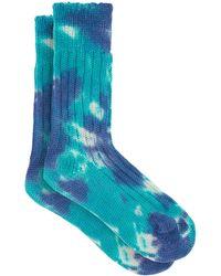The Elder Statesman Yosemite Tie-dye Cashmere Socks - Blue