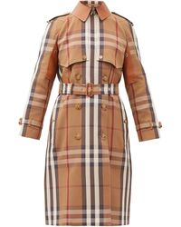 Burberry - Leather-panel Vintage-check Canvas Trench Coat - Lyst