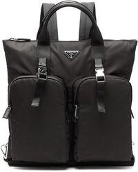 Prada Nylon Backpack Tote Bag - Black